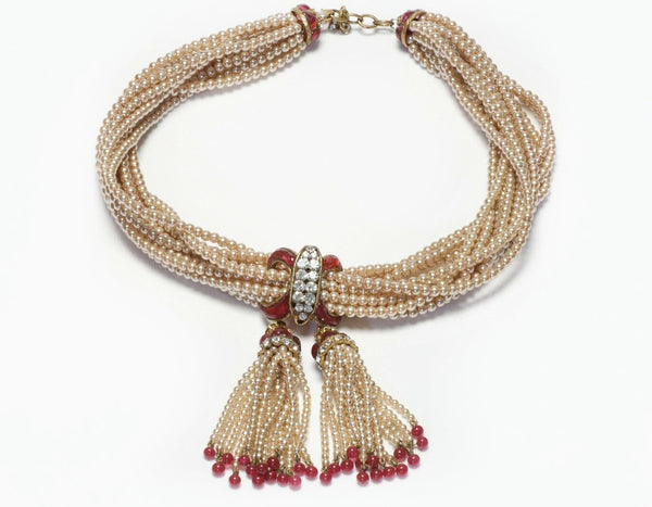 CHANEL Gripoix Pearl Red Glass Tassel Beads Necklace