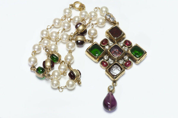 CHANEL 1985 Gripoix Red Green Glass Pearl Necklace