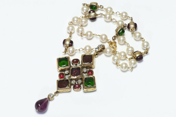CHANEL 1985 Gripoix Red Green Glass Pearl Pendant Necklace