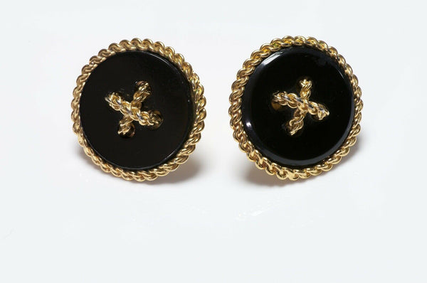 CHANEL 1990's Black Button Earrings