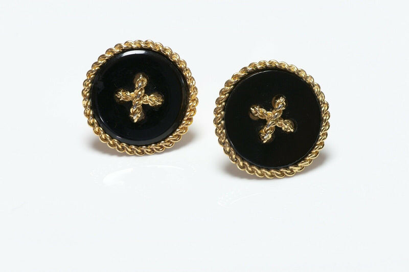 CHANEL 1990's Black Resin Button Earrings
