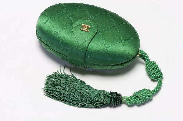 CHANEL 1990's Green Quilted Satin Tassel Clutch Bag