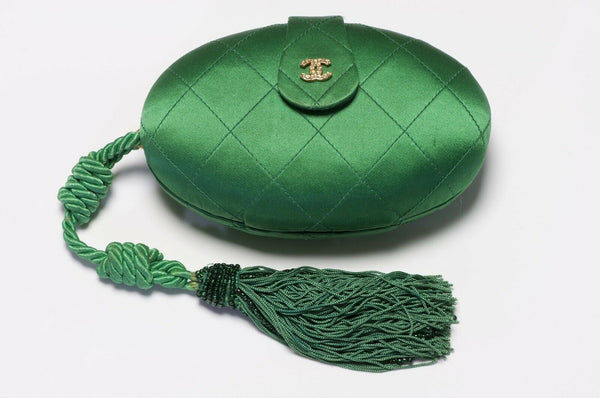 CHANEL 1990's Green Quilted Satin Tassel Egg Clutch Bag
