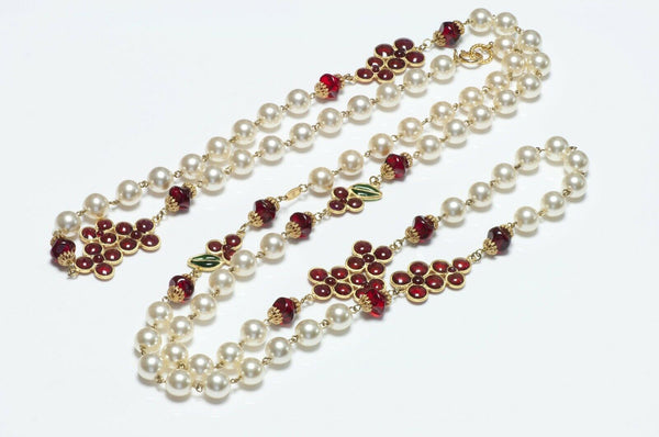 CHANEL 1990's Gripoix Camellia Glass Pearl Sautoir Necklace