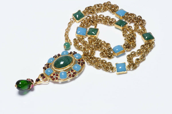 CHANEL 1990's Gripoix Green Blue Poured Glass Camellia Pendant Necklace