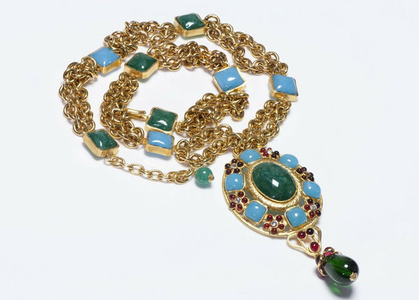 CHANEL 1990's Gripoix Green Blue Poured Glass Chain Camellia Pendant Necklace