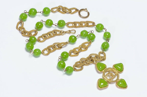 CHANEL 1990's Gripoix Green Glass CC Cross Chain Necklace