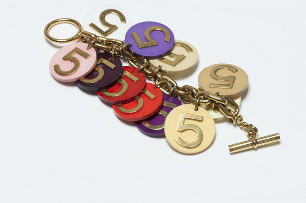 CHANEL 1990's Number 5 Poker Chip Coin Charm Bracelet