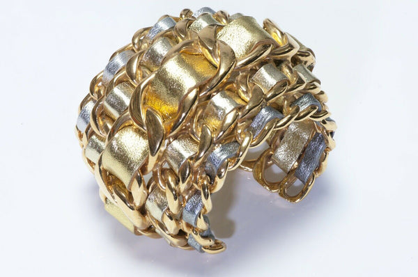 CHANEL 1990's Wide 5 Row Gold Silver Leather Cuff Bracelet