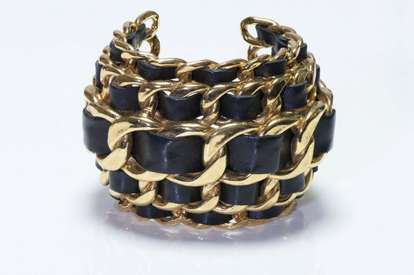 CHANEL 1990's Wide Gold Plated 5 Row Chain Black Leather Bracelet