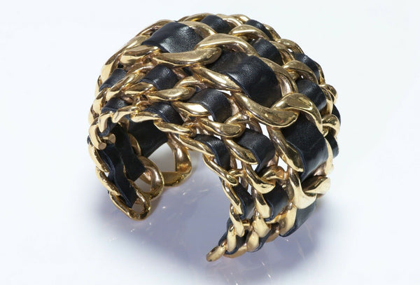 CHANEL 5 Row Chain Black Leather Cuff Bracelet