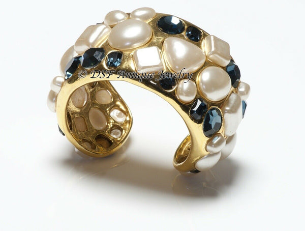 CHANEL 1990's Wide Gold Plated Blue Crystal Pearl Cuff Bracelet