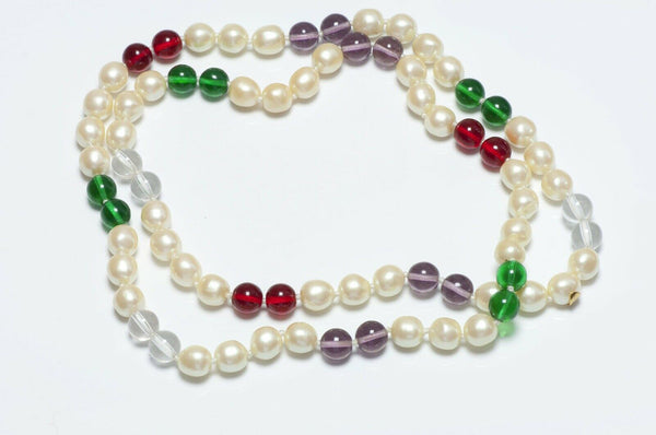 CHANEL 1993 Gripoix Glass Pearl Sautoir Necklace