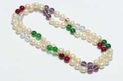 CHANEL 1993 Gripoix Glass Beads Pearl Sautoir Necklace