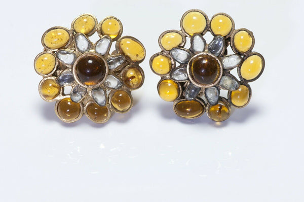 CHANEL 1994 Maison Gripoix Yellow Glass Camellia Earrings