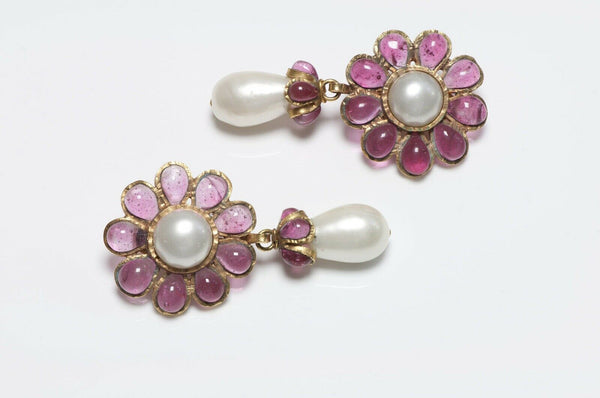 CHANEL 1995 Gripoix Camellia Glass Pearl Earrings