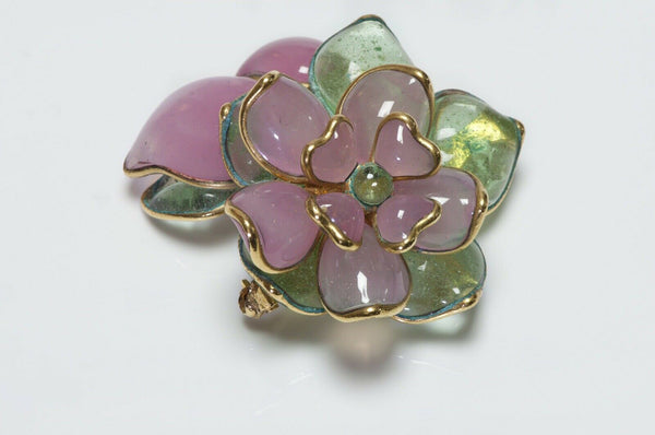 CHANEL 1996 Gripoix Camellia Flower Green Pink Glass Brooch