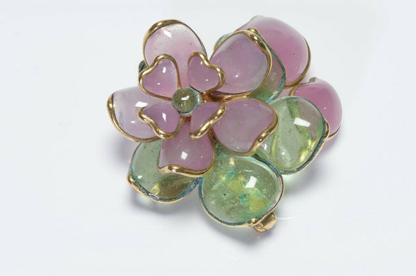 CHANEL 1996 Gripoix Camellia Flower Green Pink Glass Pendant Brooch