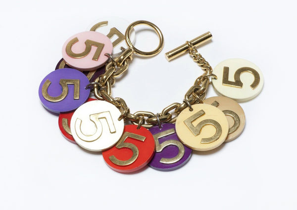 CHANEL Number 5 Poker Chip Coin Chain Charm Bracelet