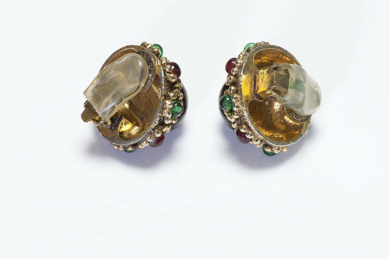 CHANEL Gripoix 1985 Poured Glass Earrings