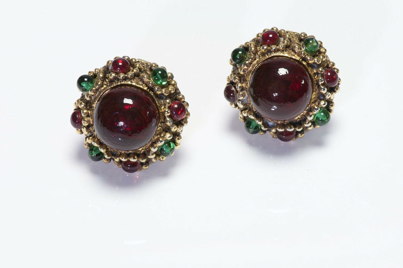 CHANEL Gripoix 1985 Red Green Poured Glass Earrings