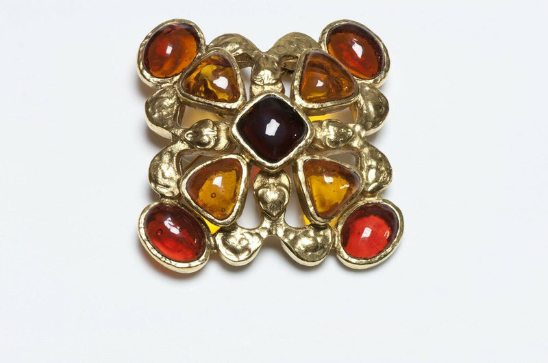 CHANEL Gripoix 1994 Brown Glass Maltese Cross Brooch