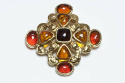 CHANEL Gripoix 1994 Brown Glass Maltese Cross Pendant Brooch