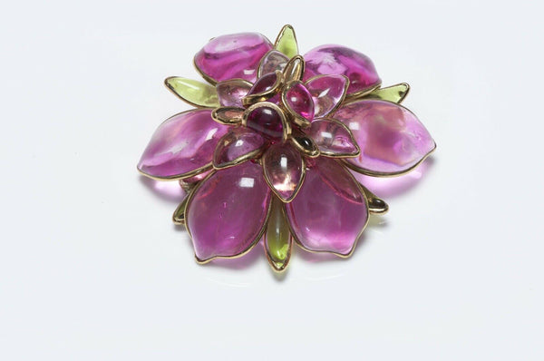 CHANEL Maison Gripoix 1950's Pink Glass Camellia Flower Brooch