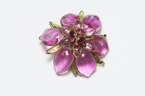 CHANEL Maison Gripoix 1950's Glass Camellia Flower Brooch