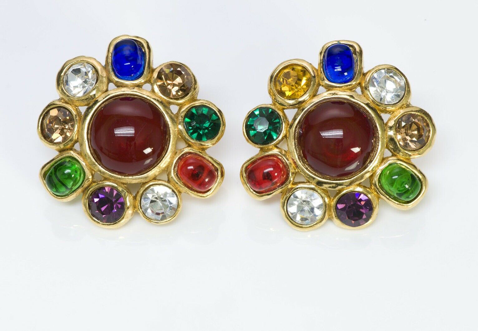 CHANEL PARIS 1980's Maison GRIPOIX Red Blue Green Glass Crystal Earrings