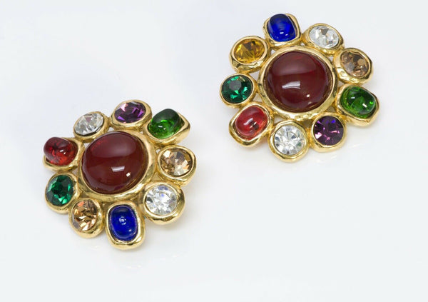 CHANEL PARIS Maison GRIPOIX Red Blue Green Glass Crystal Earrings