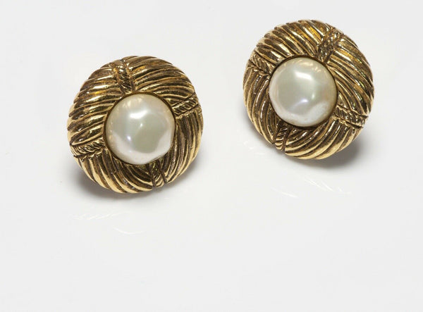 CHANEL Paris 1970's Pearl Textured Round Earrings
