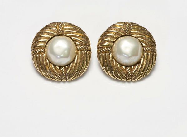 CHANEL Paris 1970's Baroque Pearl Textured Round Earrings