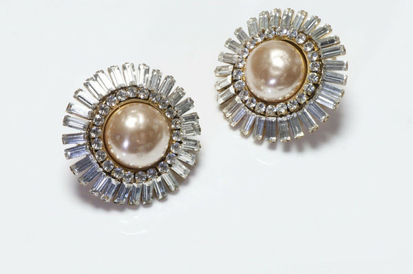 CHANEL Pearl Crystal Large Round Earrings