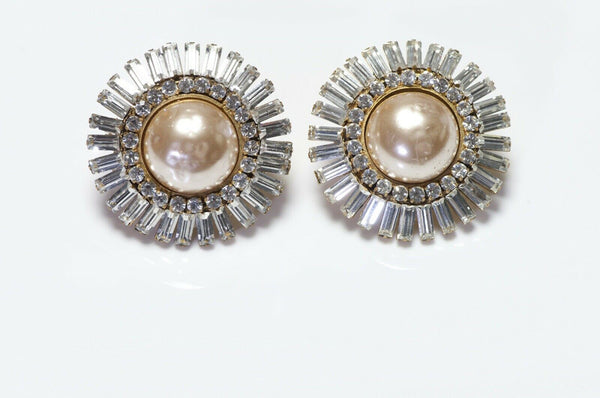 CHANEL Paris 1970's Brown Pearl Crystal Large Round Earrings