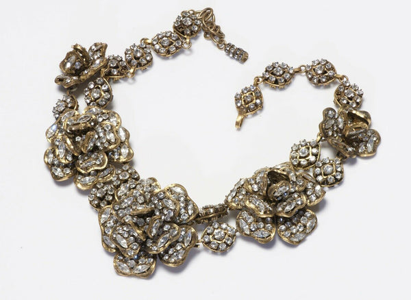 Vintage CHANEL Paris 1970's Crystal Camellia Flower Collar Necklace