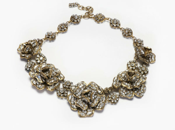 CHANEL 1970's Crystal Camellia Flower Collar Necklace
