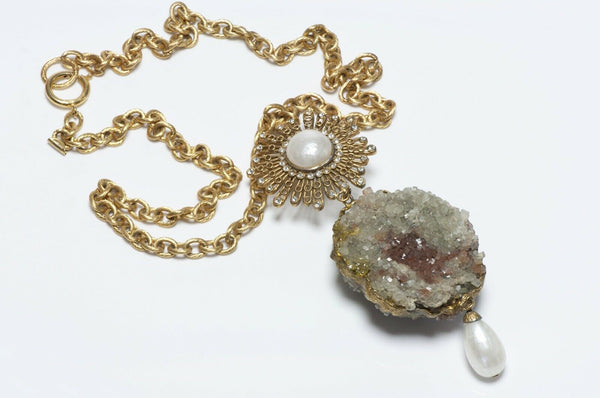 CHANEL Paris 1970's Quartz Pearl Starburst Pendant Necklace