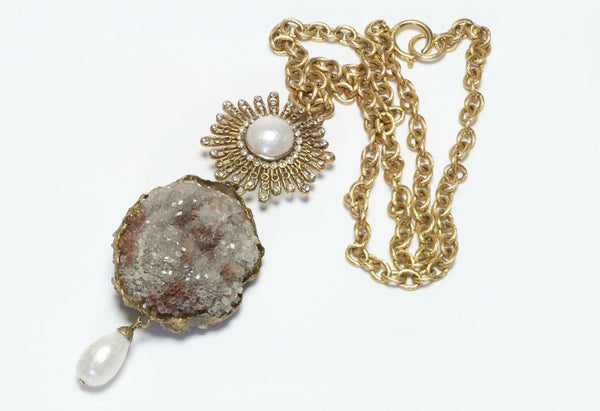 CHANEL Paris 1970's Quartz Pearl Starburst Pendant Chain Necklace