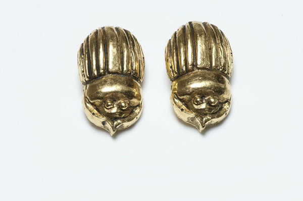 CHANEL Paris 1980's Gold Plated Beatle Scarab Earrings