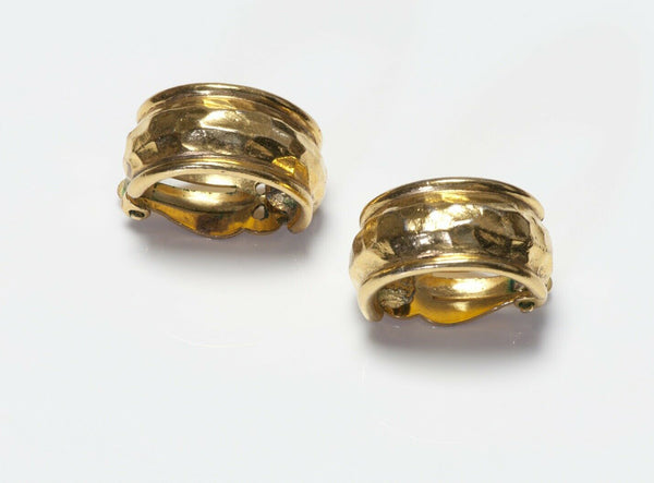 CHANEL Paris 1980's Hammered Hoop Earrings