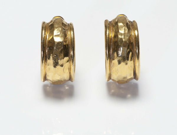 CHANEL Paris 1980's Gold Plated Hammered Hoop Earrings
