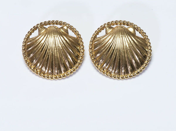 CHANEL Paris 1980's Gold Plated Large Seashell Earrings