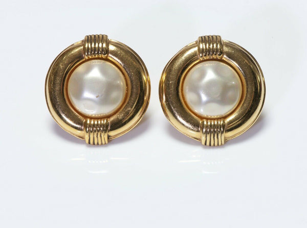CHANEL Paris 1980's Gold Plated Pearl Round Earrings