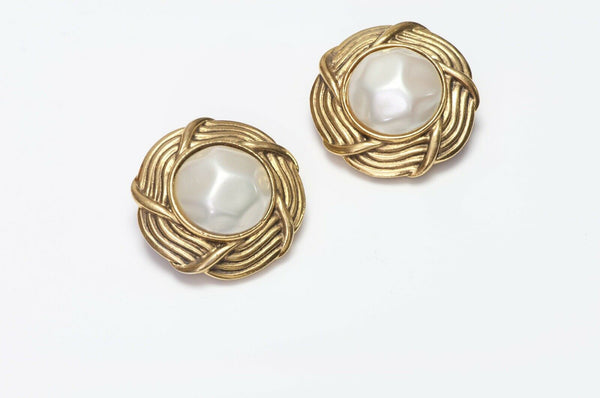 CHANEL 1980's Woven Pearl Earrings