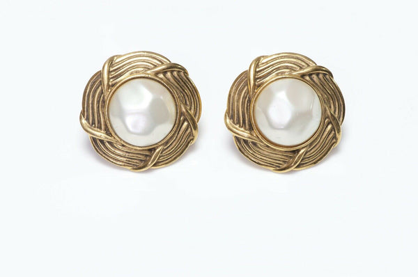 CHANEL Paris 1980's Woven Pearl Earrings