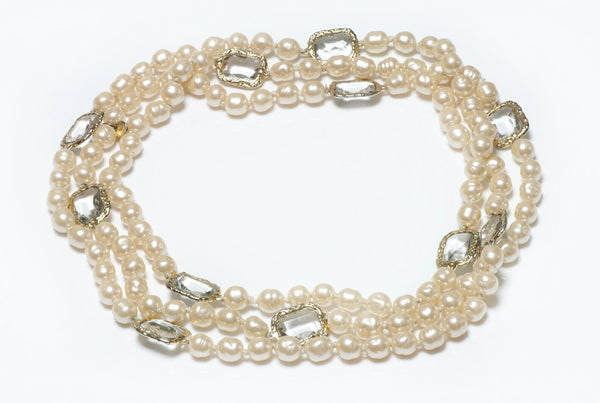 CHANEL Goossens Pearl Crystal Long Infinity Sautoir Necklace