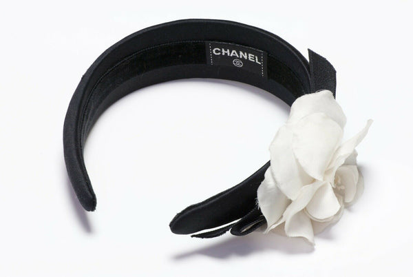 Chanel Satin White Camellia Bow Flower Headband