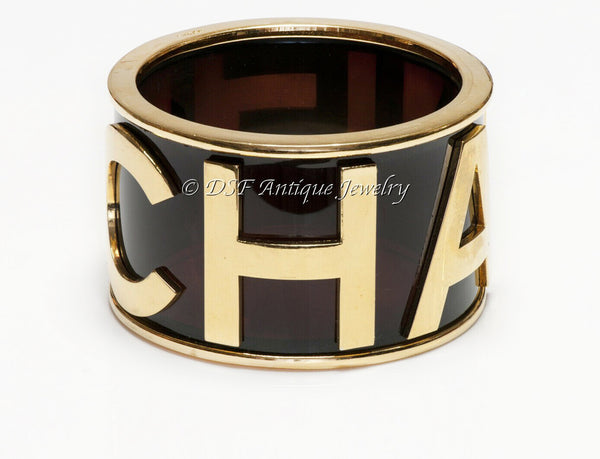 CHANEL Lucite Letter Charm Bangle Bracelet