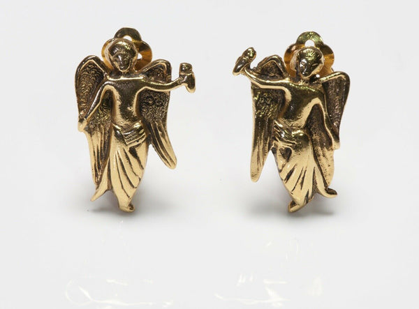 CHANEL Paris 1990's Gold Plated Angel Earrings